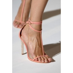 Pink Open Toe T Strap Sandals Stiletto Heels Thin Strap Sandals