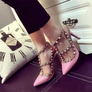 Pink T Strap Heels Patent Leather Rock Studs Slingback Pumps