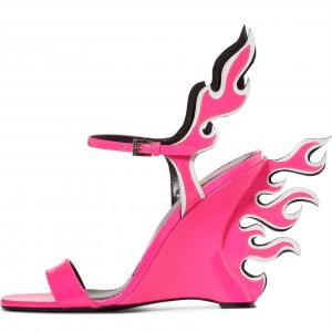 Pink Wedge Heels Flame Style Sandals