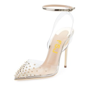Champagne Clear Sandals Closed Toe Rivets Ankle Strap Sandals