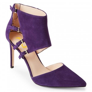 Purple Suede Shoes Pointy Toe Cut out Stiletto Heel Pumps with Buckles