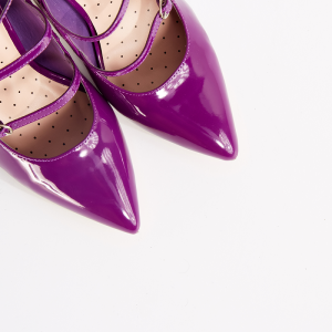 Purple Pointy Toe Mary Jane Pumps Tri Strap Buckles Office Heels