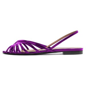 Purple Slingback Comfortable Flats Sandals