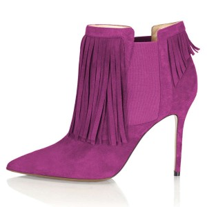 Purple Suede Fringe Boots Stiletto Heel Chelsea Boots