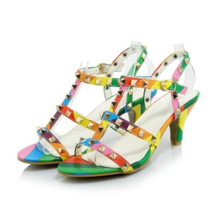 Women's Colorful with Metal Chunky Heels Open Toe  T-Strap Sandals