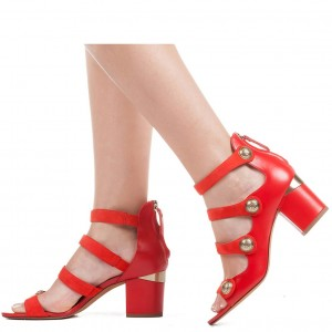 Red Agraffe Block Heel Sandals Zipper Open Toe Sandals