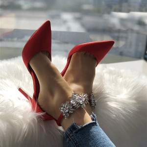 Red Ankle Strap Crystal Double D'orsay Stiletto Heel Pumps