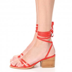 Red Block Heel Sandals Open Toe Slingback Strappy Sandals