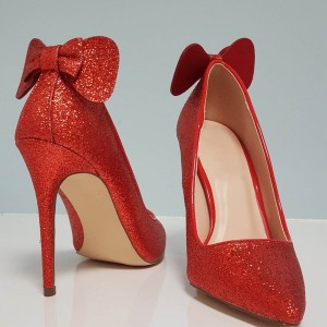 Red Bow Glitter Shoes Stiletto Heel Pointed Toe Pumps