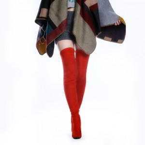 Red Chunky Heel Pointy Toe Thigh High Heel Boots