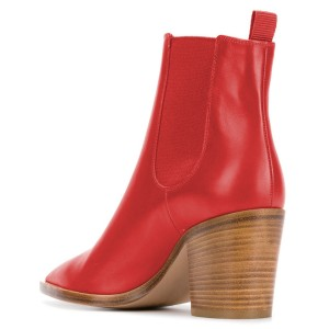 Red Chunky Heels Chelsea Boots Pointy Toe Ankle Booties