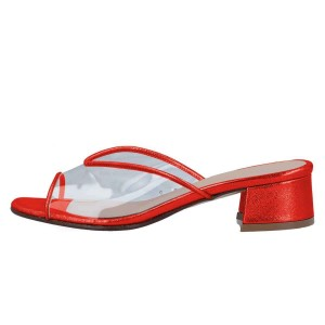 Red Clear PVC Mule Heels Block Heel Sandals