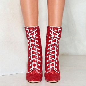 Red Glitter Chunky Heel Boots Lace up Ankle Booties