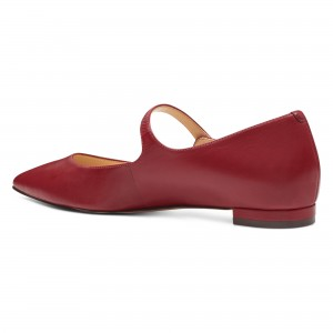 Burgundy Mary Jane Shoes Pointed Toe Flats