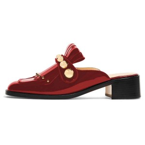 Red Mirror Leather Fringe Studs Loafer Mules