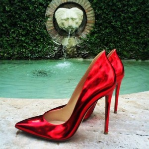 Red Mirror Leather Stiletto Heels Pumps