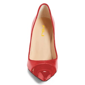 Red Office Heels Pointy Toe Hollow Out Dress Shoes