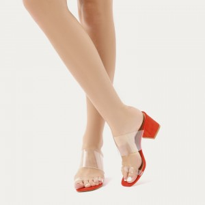 Dark Orange Open Toe Block Heels Clear Mule Sandals