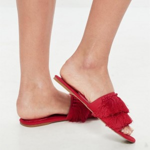 Red Suede Flat Tassel Sandals Open Toe Women's Slide Sandals