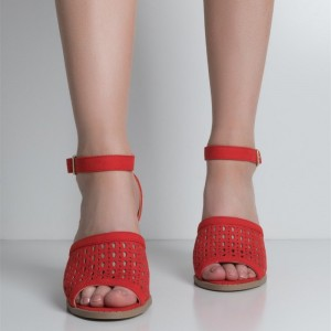 Red Open Toe Hollow out Ankle Strap Suede Block Heel Sandals