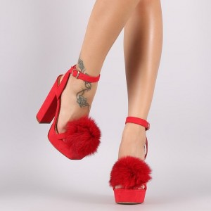 Red Open Toe Slingback Sandals Suede Chunky Heel Sandals with Fur