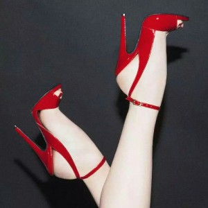 Red Patent Leather Slingback Heels Peep Toe Ankle Strap Sandals