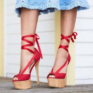 Red Platform Sandals Peep Toe Stiletto Heels Strappy Sandals