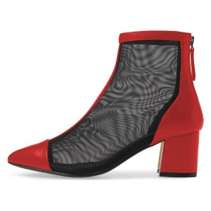 Red Pointy Toe Nets Chunky Heel Ankle Booties