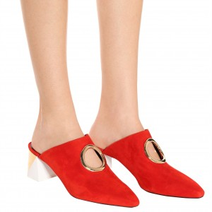 Red Round Toe Suede Hole Mule Block Heels US Size 3-15
