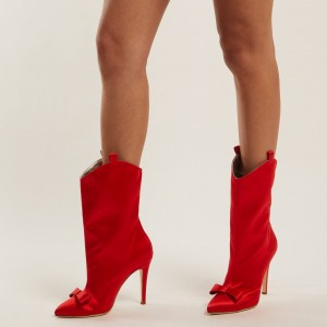 Red Satin Bow Stiletto Heel Ankle Booties