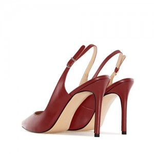 Burgundy Heels 4 Inches Slingback Pumps for Office Ladies
