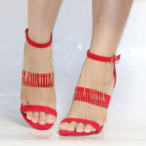 Coral Red Suede Golden Fringe Open Toe Ankle Strap Sandals