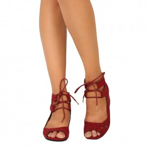 Red Suede Lace Up Hollow Out Peep Toe Block Heel Sandals