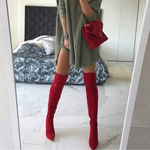 Red Suede Thigh High Heel Boots