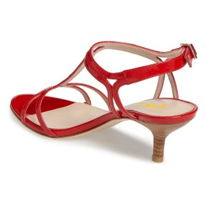 Red T Strap Sandals Open Toe Kitten Heels Sandals for Office Lady