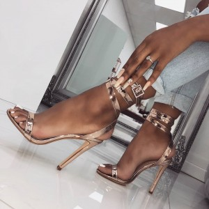 Rose Gold Open Toe Strappy Sandals Stiletto Heel Slingback Sandals