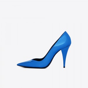 Royal Bule Office Heels Pointy Toe Pumps for Women