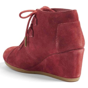 Russet-red Suede Lace Up Wedge Booties