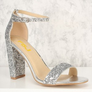 Women's Silver Glitter Shoes Chunky Heels Ankle Strap Sandals