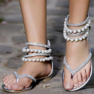 Silver Wedding Flats Rhinestone Summer Flat Beach Sandals