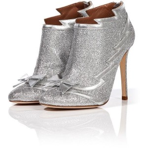 Silver Glitter Bow Stiletto Boots Ankle Booties