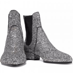 Silver Glitter Chelsea Boots Chunky Heels Ankle Booties