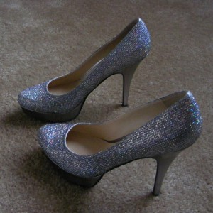 Silver Glitter Platform Heels Stiletto Heels Pumps for Women