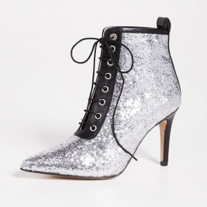 Silver and Black Glitter Boots Pointy Toe Lace up Ankle Booties