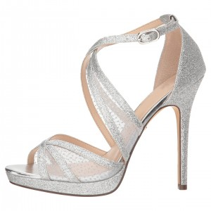 Silver Glitter Shoes Platform Cross Over Stiletto Heel Wedding Sandals