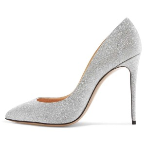 Silver Glitter Shoes Stiletto Heel Pumps