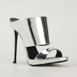 Silver Metallic Mule Heels Open Toe Stiletto Heels for Office Lady