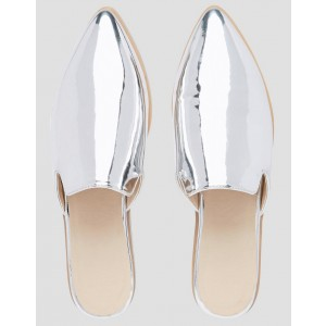 Silver Mirror Leather Loafer Mules Pointy Toe Flats for Women
