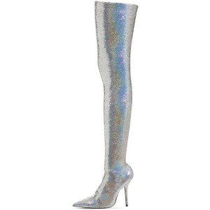 Silver Sequin Boots Pointy Toe Thigh High Party Long Boots