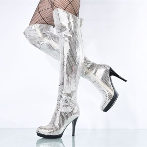 Silver Sequin Boots Closed Toe Over-the-Knee Stripper Boots